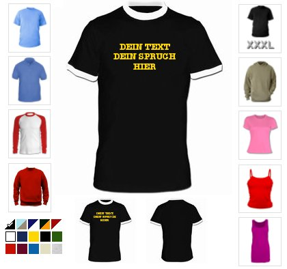 T-Shirt Druck Menue